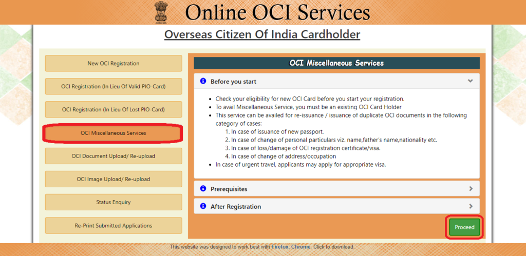 OCI card replacement process